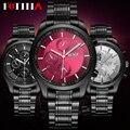 BOSCK 2016 Reloj de Los Hombres Negro Marca Casual Relojes de Pulsera de Moda Reloj de Cuarzo de Acero Reloj Deportivo Relogio masculino erkek kol saati