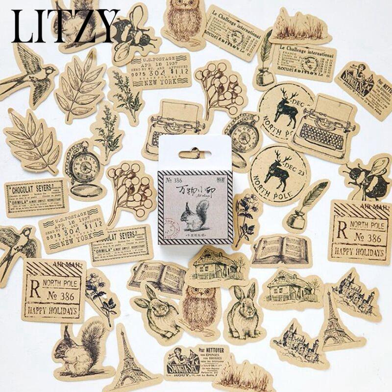 Top 9 Best Derpy Animal Stickers 2019: 45pcs/box Vintage Animal Sticker Squirrel Owl Leaves Photo