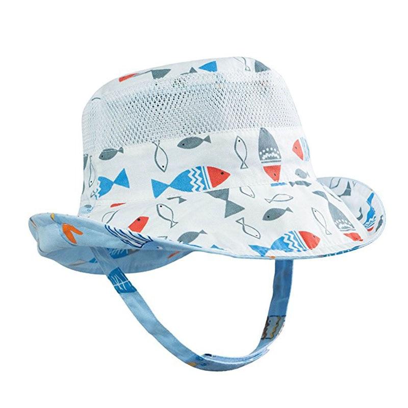 Reversible Baby Sun Hat UPF 50+ Boys Girls Beach Bucket Hat Wide Brim Toddler Sun Protection Hat Kids Bucket Cap