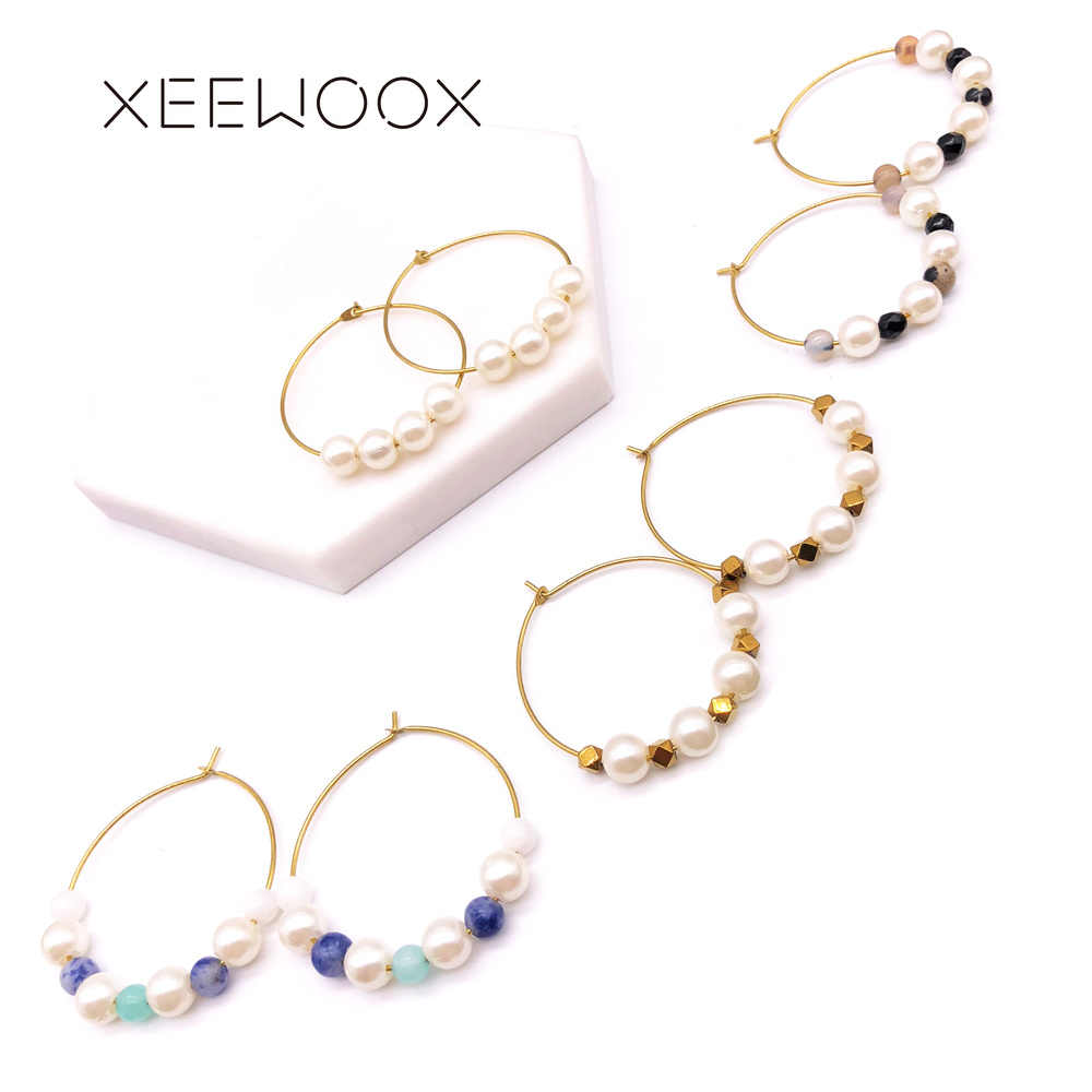 Circular Water Drop Pearl Bohemia Hoop Earrings Woman Statement Hoop Earring Gold Color XEEWOOX Design Party Gift Earring