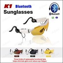 Esporte Moda K1 Ciclismo Polarized óculos de Sol Função do Toque do Bluetooth fone de Ouvido Sem Fio Fone De Ouvido com Microfone Para iPhone Samsung LG