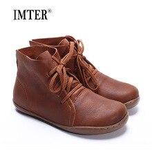 (35 46) botas de tornozelo femininas tamanhos grandes feitas à mão de couro genuíno mulher botas dedo do pé redondo rendas até sapatos calçados femininos (5188 8)