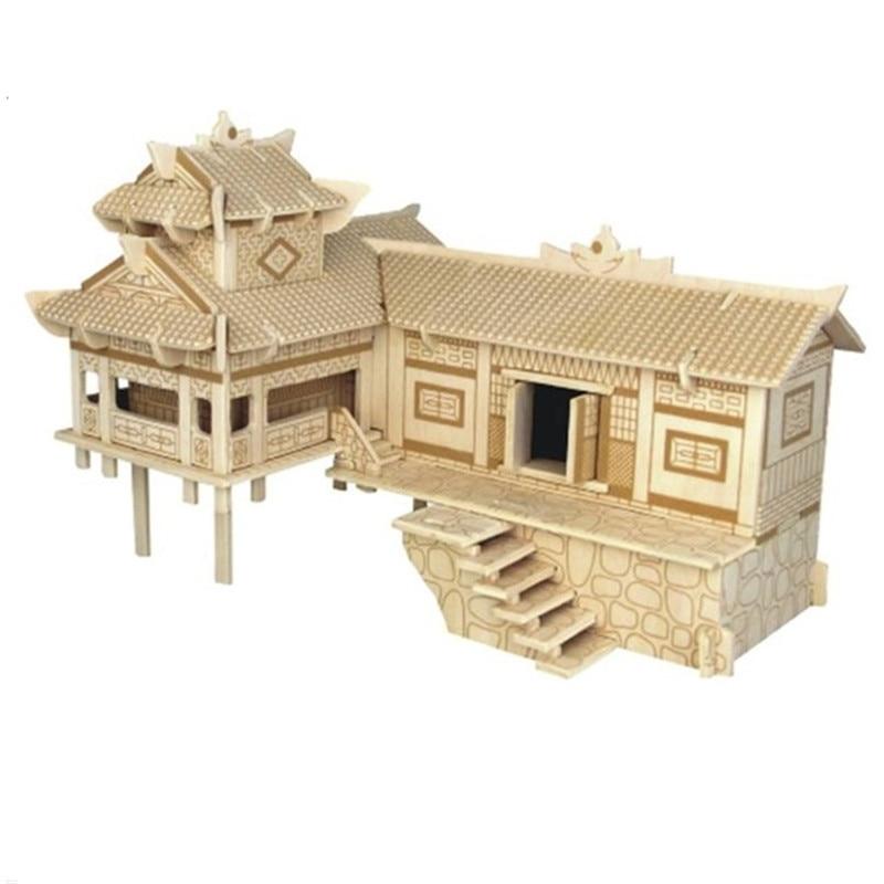 Моделирование игрушки развивающие игрушки деревянные головоломки здание сделай сам дом в китайском национальном стиле зданий модель дере...