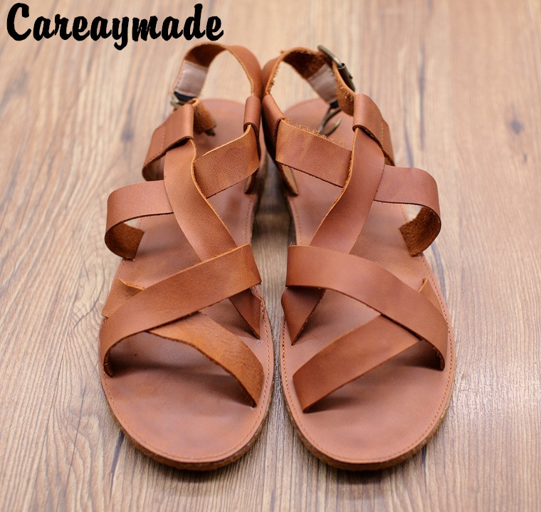 Careaymade 2019 new head layer cowhide pure handmade weave shoes the retro art mori girl shoes