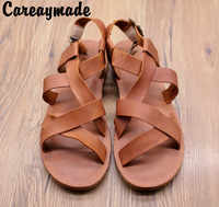 Careaymade-2019 new head layer cowhide pure handmade weave shoes, the retro art mori girl shoes,Women's casual flta lSandals