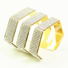 luxury brand bracelet jonc rhinestone women cuff bangles bilezik snap jewelry rhinestone detail cuff bracelet