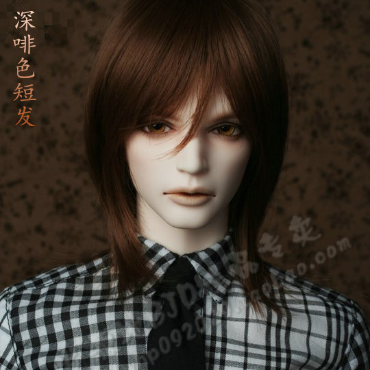 doll accessories 1/3 1/4 Bjd wig doll hair wig short straight medium middle parting bangs korean style cool male man - fa36 25cm 100cm doll wigs hair refires bjd hair black gold brown green straight wig thick hair for 1 3 1 4 bjd diy