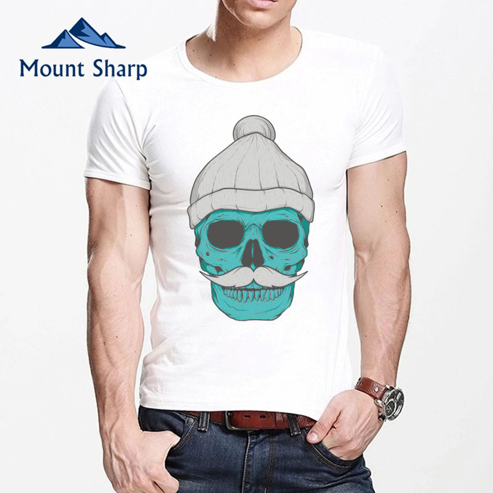 Mount Sharp Men's Fashion Old man Skull T Shirt 3D Printed shirt White Casual Short Sleeve Men Comfortable Tee Hipster Tops