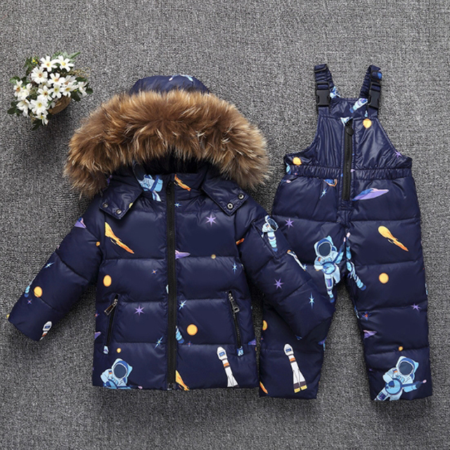 2018 Winter Jacket For Boys Girls Child's Down Jackets Overall Kids Hooded Snowsuits Natural Fur Parka Children Clothes Set Coat