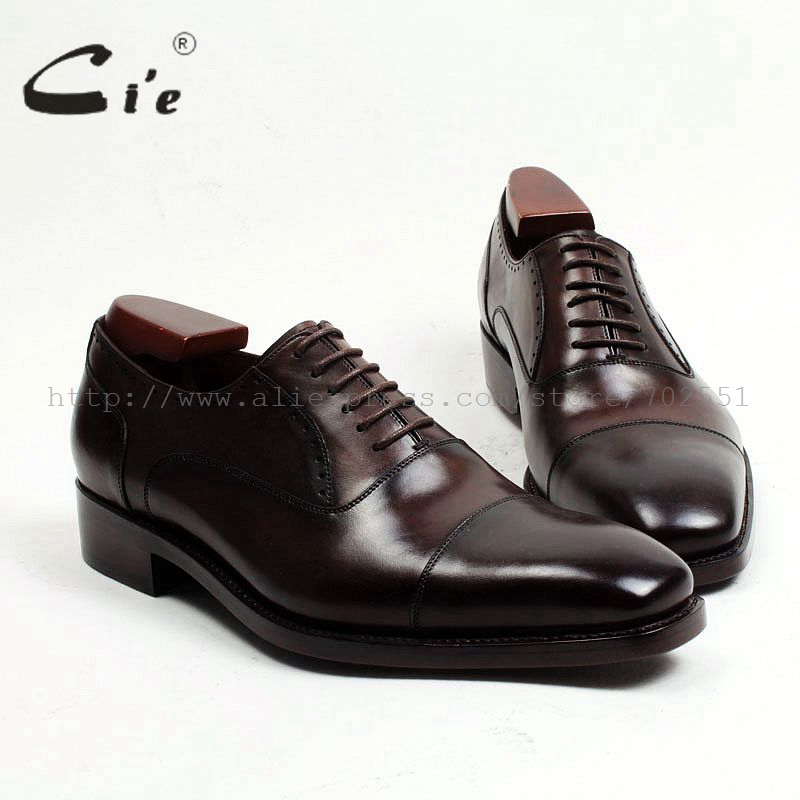 cie Free Shipping Bespoke Custom Handmade Men's Cap-toe Dress Oxford Square Toe Semi-brogue Lace-up Business Brown Shoe No.OX462