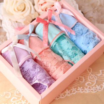 Cute Bow Lovely Lace Transparent Teens Briefs