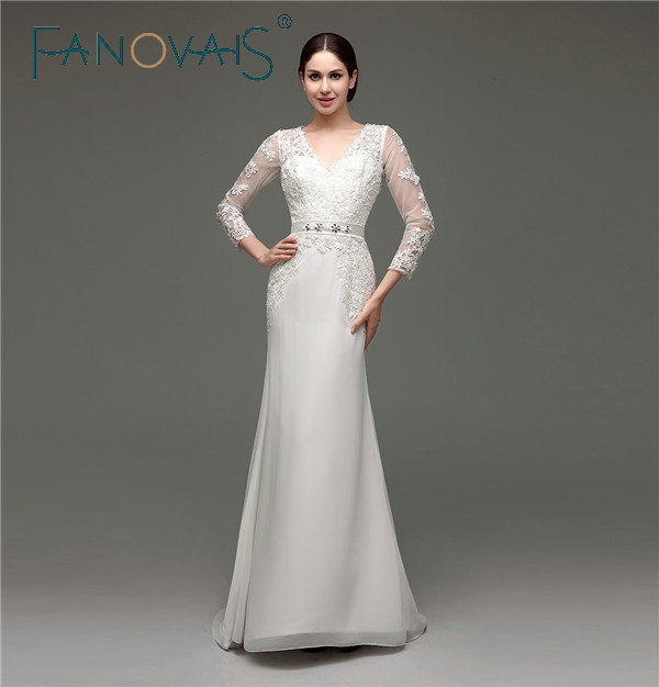 In Stocks Elegant Lace Appliques V-neck Sheath Long Sleeves Wedding Dresses Chiffon Lace Zipper Back Wedding Gowns