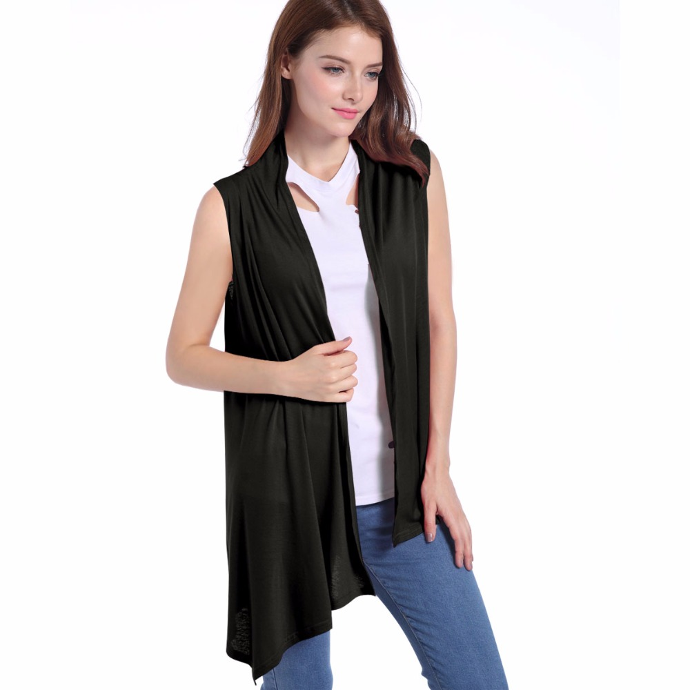Women's Versatile Soft Solid Colors Sleeveless Asymetric Hem Open ...