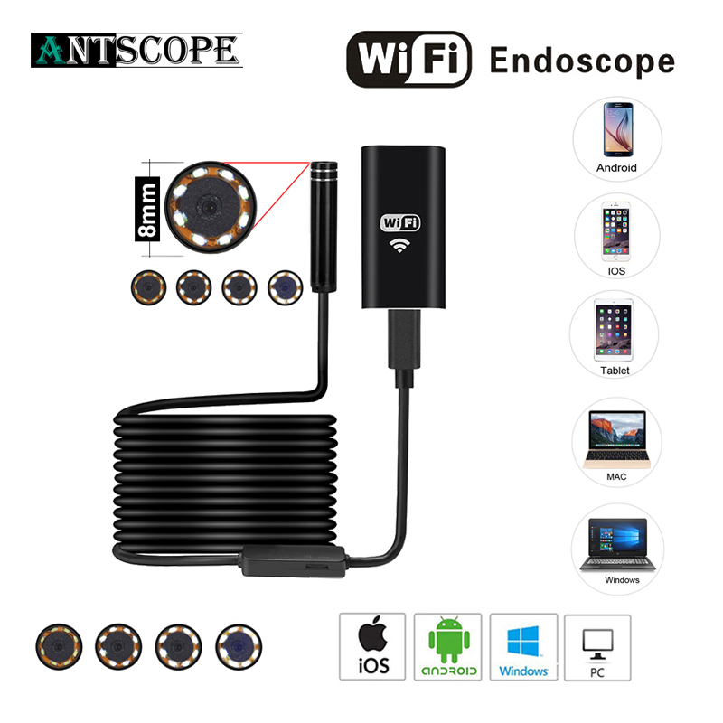8MM 2MP 8LED HD720P Wifi Endoscop Android USB IOS Endoscope Flexible Hard Wire Tube Cable Vehicle Pipe Inspection Camera 35