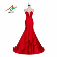 ANTI Sexy Red Mermaid Evening Dress V Neck Empire Sweet 16 Years Robe De Soiree Vestido