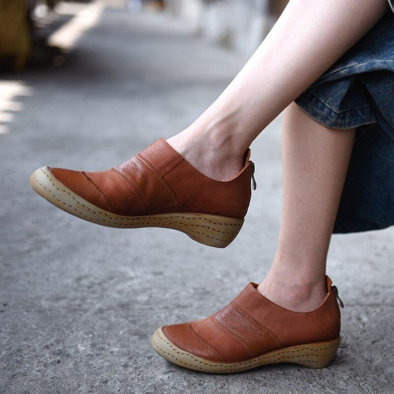 Noir Cuir Femme Couture Mode Confortable Main Cadeau Nouvelle 4 Mère Marque marron Pompes Femmes Artmu Cm En Véritable Chaussures vTxZ5P