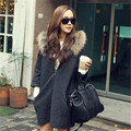 Womens Winter Spring Fashion Hooded Trench Fur Loose Coat Zipper