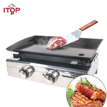 Купить с кэшбэком ITOP 2 Burners Gas BBQ Grills  LPG Griddle Plancha Gas Barbecue Grills Camping Picnic Tools For Outdoor churrasqueira parrilla