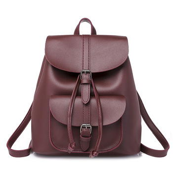 Pocket PU Leather Women Backpack Female Retro Designer Schoolbag for Teenagers Girl's Casual Large Travel Bag Laptop Backpack