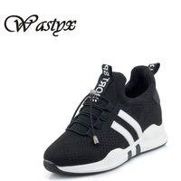 Wastyx новые туфли Для женщин Pu Модные женские Вулканизированная обувь Высокое качество на шнуровке резиновая подошва Круглый обувь удобная п