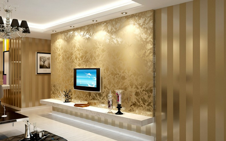 Hot Sales Gold And Beige Striped Nature Wooden Designs Wallpaper Luxury Living  Room Tv Background Papel De Parede In Wallpapers From Home Improvement On  ...