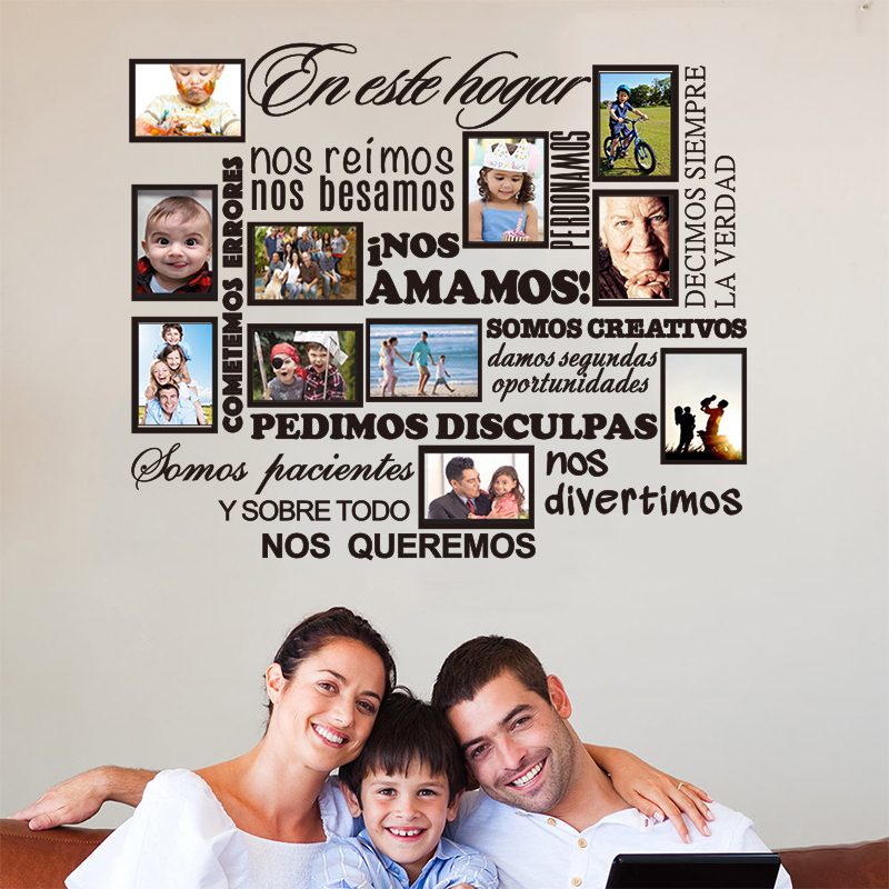 DIY Family Photo Frame Sticker Spanish House Rules inos Amamos Removable Vinyl Wall Decals Wall Art Home Decor House Decoration