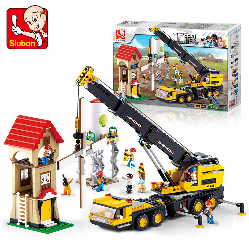 0553 SLUBAN City Heavy Engineering Crane Truck Model Building Blocks Classic Enlighten Figure Toys For Children Compatible Legoe pink floral pattern round neck long sleeves stitching t shirt