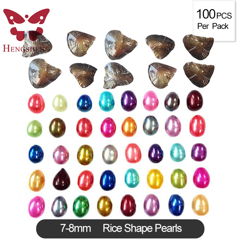 100PCS LOT Promotion 7 8mm natural freshwater oysters with rice pearls colorful oval shape freshwater pearls