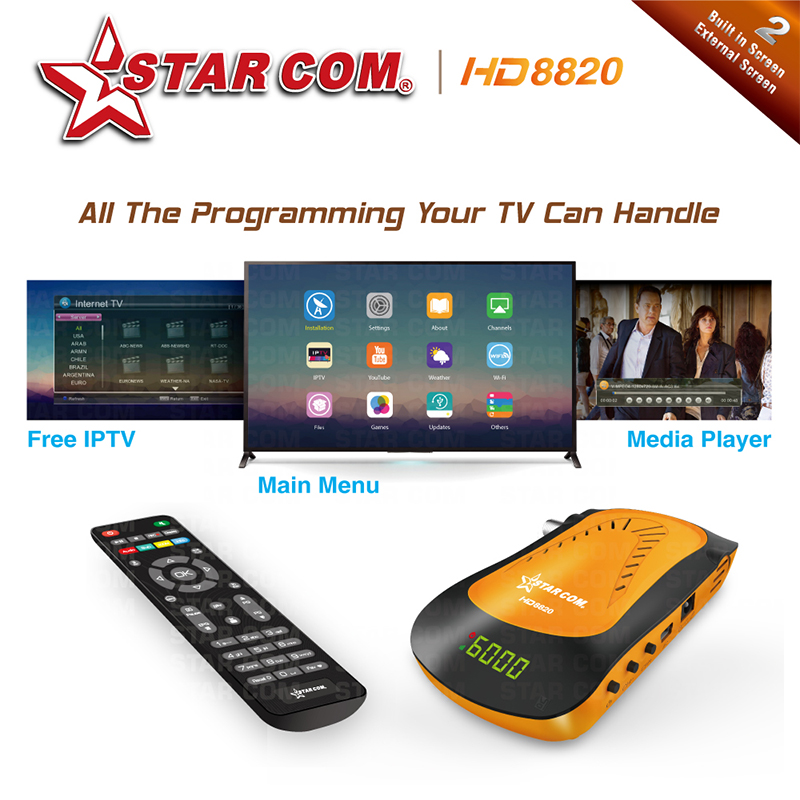 STARCOM HD8850 Arabic IPTV Satellite Receiver DVBS2 With Free IPTV PowerVU  Bisskey TV BOX M3U TV Receiver