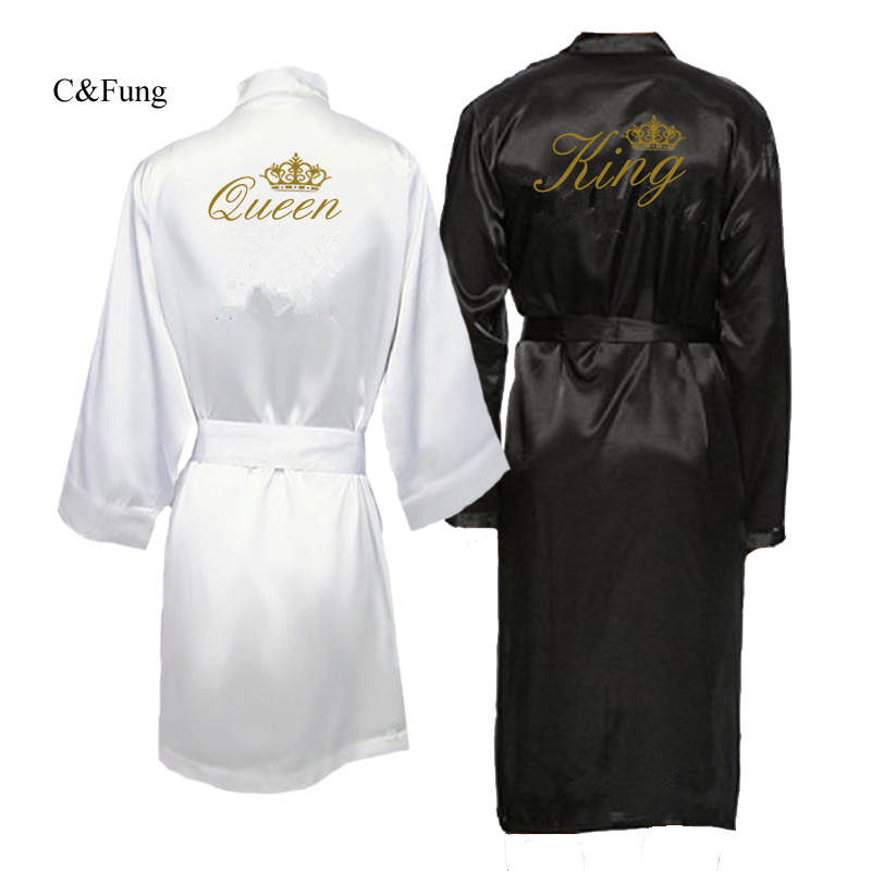 Pajamas Robes Kimono Couple Honeymoon Groom Bride King And Queen for Fung Fung title=