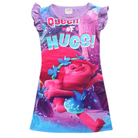 Summer Cotton Girl S Clothing Print Trolls Poppy Carnival Party Vest Dress Wig For 4 10