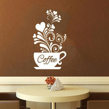 Flower Coffee Cup With Hear Wall Sticker For Living Room Home Decorative Kitchen Removable DIY Art Poster