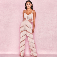 New Fashion Hot Selling Summer Spaghetti Straps Pink Womne Casual Jumpsuit With Tassel Design Party Outfit Clothing Wholesale