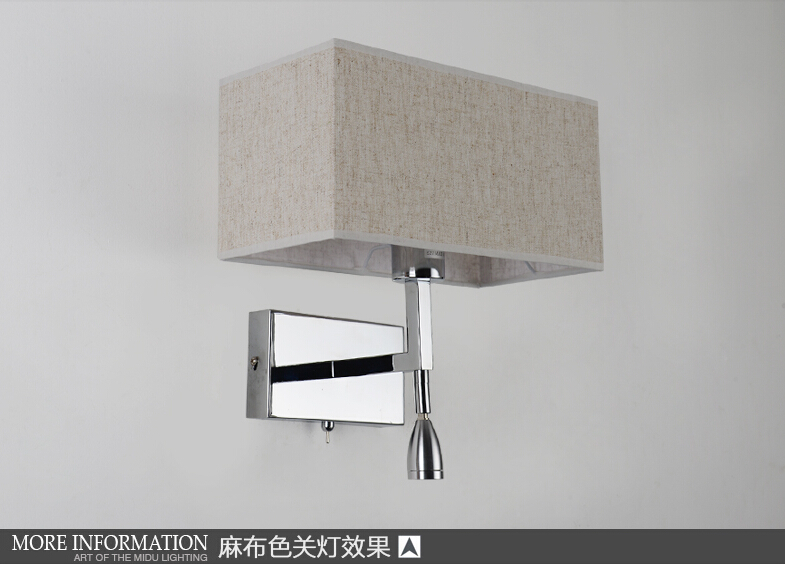 Modern Creative LED Wall Lamp Rectangle Fabric Shade Band Switch LED Reading  Wall Light For Home Lightings Lampara Pared E27 in Wall Lamps from Lights. Modern Creative LED Wall Lamp Rectangle Fabric Shade Band Switch