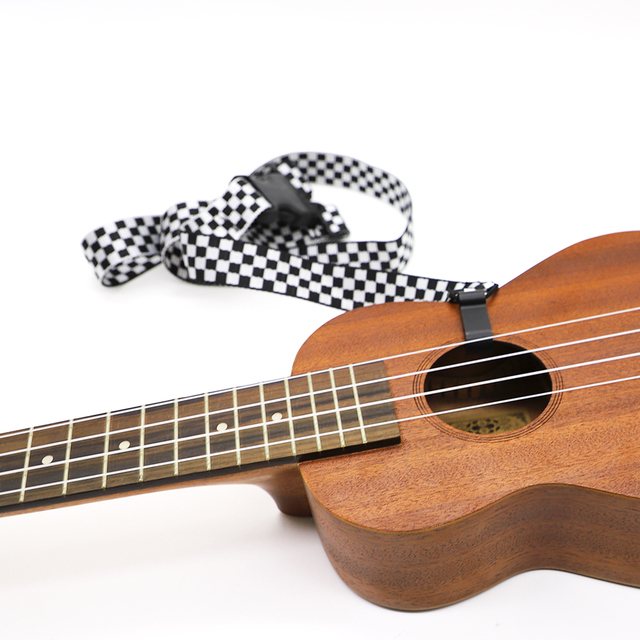 Adjustable Black and White Plaid Ukulele Strap