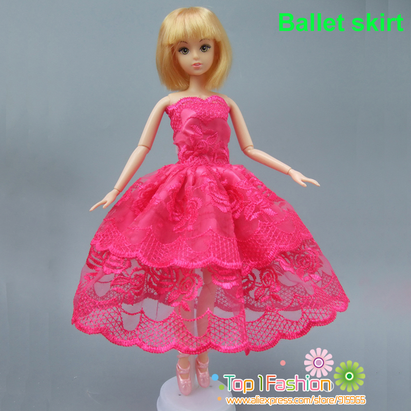 free shipping quality full around short dress for barbie doll