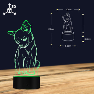 Image 4 - Cute Little Dog Chihuahua Breed Portrait 3D Optical illusion Night Light With Color Changing Animal Pet Puppy Bedroom Table Lamp