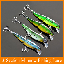 Free Shipping 4pcs 3-Sections Minnow Fishing Lure Mix 4 Color 10cm/16g/ Floating Lures Hard Bait luminous bait