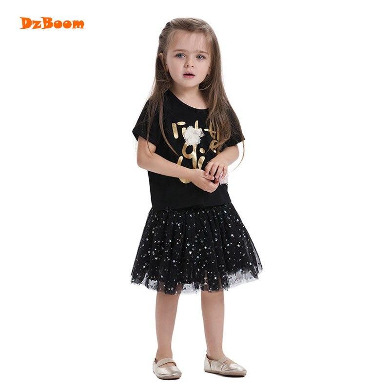 DzBoom Fashion Girls Black T-shirt Tops Children Letter Printed Tees Summer Clothing 2017 New Cotton Round Neck Kids Tshirts