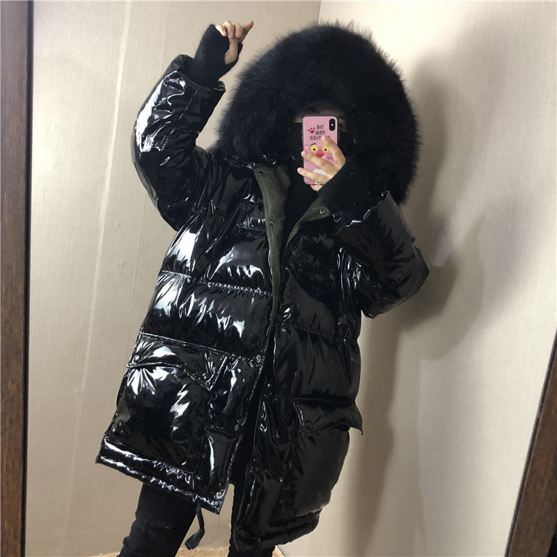 Metal Black  Fur Hooded 2019 Women White Duck Down Jackets Loose Long Warm Thicken Parkas For Female Winter Jacket Women YRF11