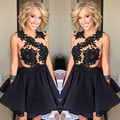 Black Short Homecoming Dresses 2017 Appliques Backless 8th Grade Graduation Party Prom Dress Junior Vestidos Baile Formatura
