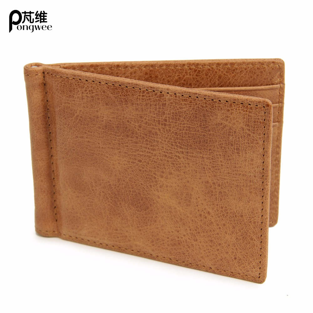 PONGWEE Genuine Leather Money Clip Wallet Men Slip Wallets Men Slim Clutch Men Wallet Small Purse For Man Carteira