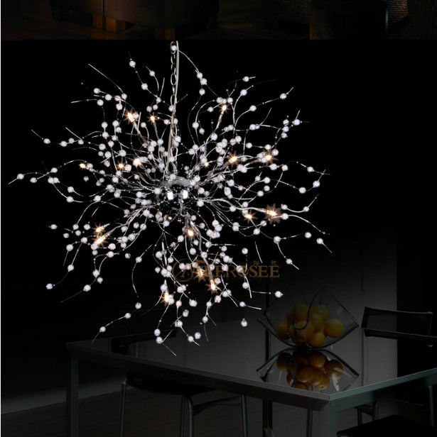 Modern Pendant Light Fixture Beaded Floral Suspension Light for Dining Living room French Style Hanging Drop L&-in Pendant Lights from Lights u0026 Lighting ... : floral pendant light - azcodes.com
