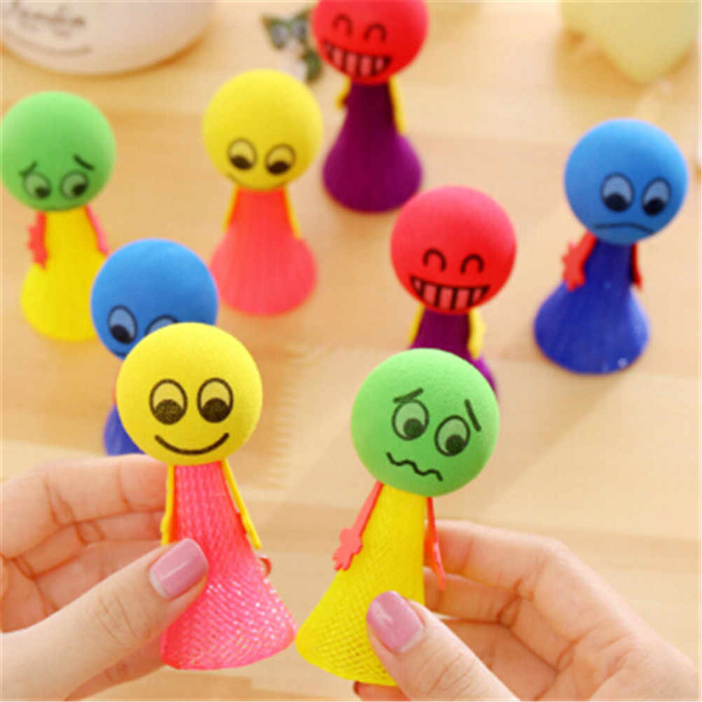 1/5Pcs/Pack Hip Hop Jumping Doll  Kids Bounce Ball Toys Educational Game Expressions Push&DownToys Gifts for Children Random