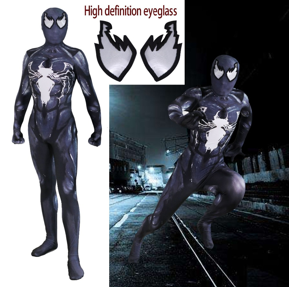 Movie Venom Symbiote cosplay Super hero Spiderman Kids Boy Costumes Fullbody Zentai Suit Adult man Jumpsuit Long Sleeve Rompers