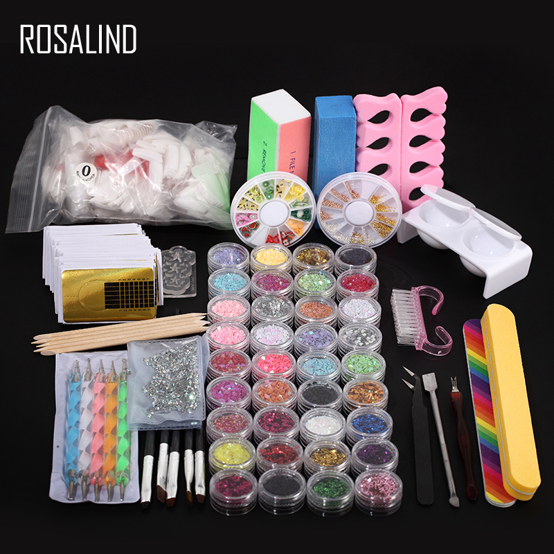 ROSALIND Manucure Ensemble Professionnel Acrylique Nail Kit Appareil Nail Art Outils Cutter Brosses Forme Nail Extension Conception Faux Ongles