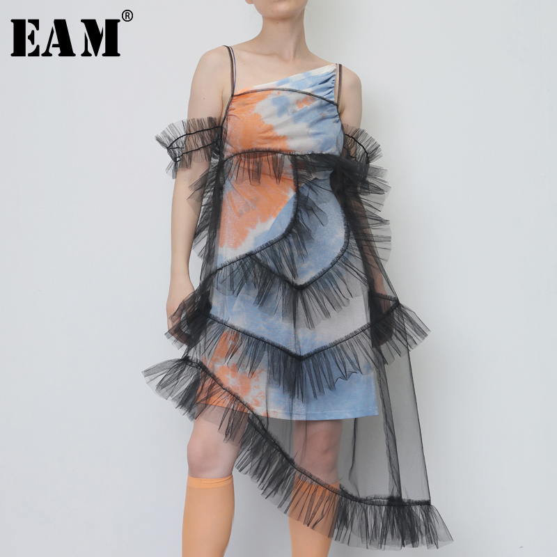 [EAM] 2020 New Spring Summer Sleeveless Mesh Ruffles Sling Loose Pleased Perspective Irregular Dress Women Fashion Tide JY080