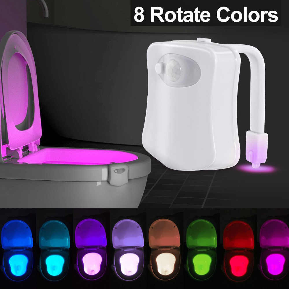 New 8-Color LED Motion Sensing Automatic Toilet Bowl Night Light Atmosphere Lamp