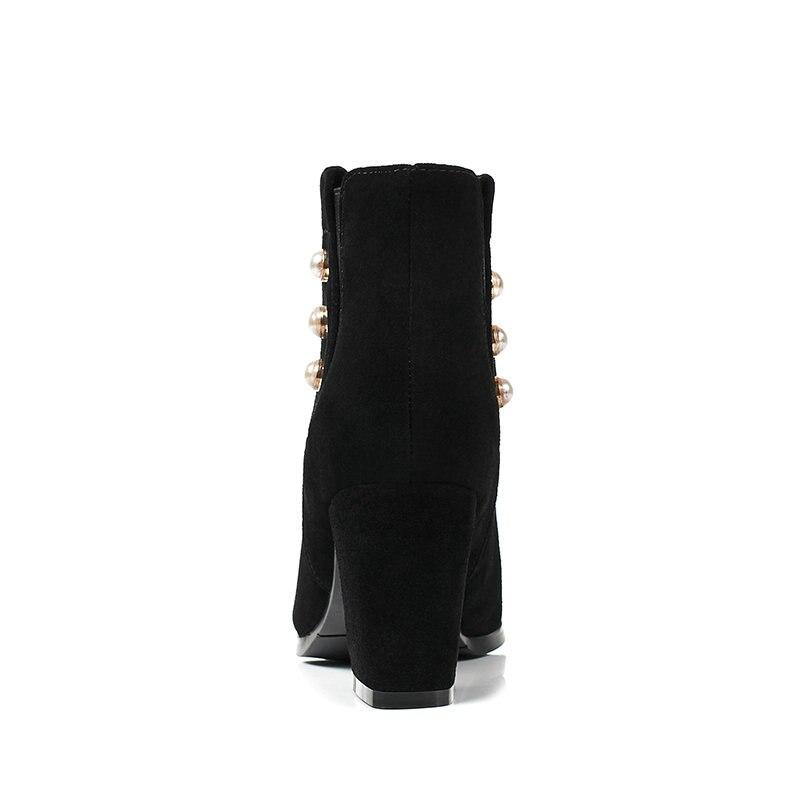 Tobillo verde Vaca Botas Esveva Cuero Otoño Tamaño Punta Zapatos 2019 Mujer Tacones Mujeres 43 Toe Zip Pu Negro Cuadrados 34 zzwH8