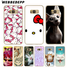 WEBBEDEPP Hello Kitty Minimal Hard Transparent Cover Case for Galaxy S6 S7 Edge S8 Plus S5 S4 S3 & Mini